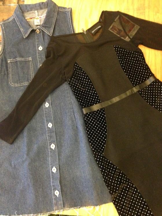 Denim Button Up Dress - $24, Mink Pink Roller Disco Dress -$74 BOTH 20% OFF AT REGISTER